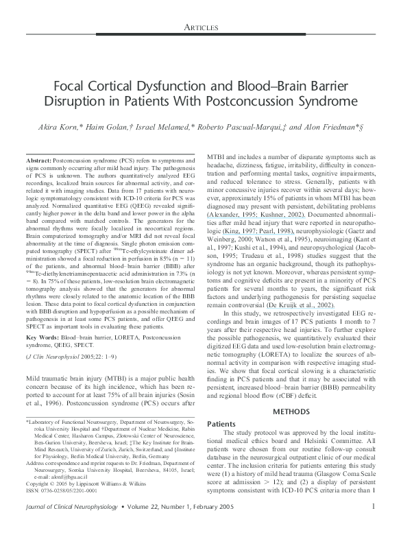 PDF) Focal Cortical Dysfunction and Blood???Brain Barrier