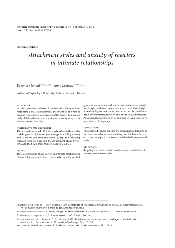 PDF) Attachment styles and anxiety of rejecters in intimate