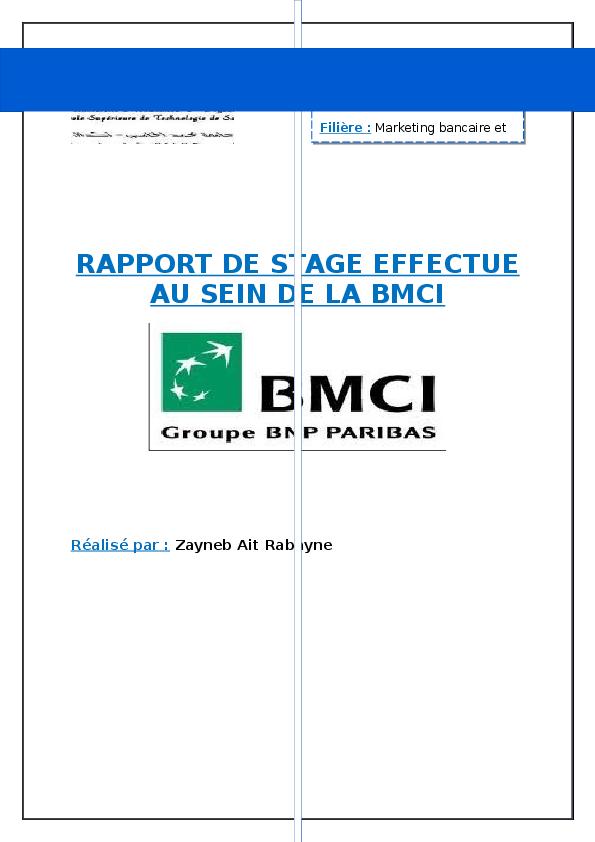 DE BMCI RAPPORT TÉLÉCHARGER STAGE