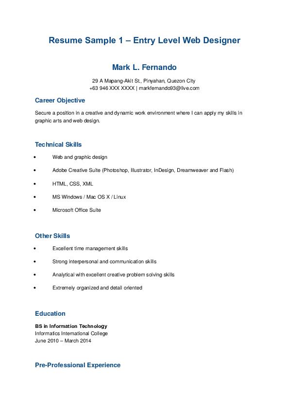 Doc Resume Sample 1 Entry Level Web Designer Dd Sahaja Academia Edu