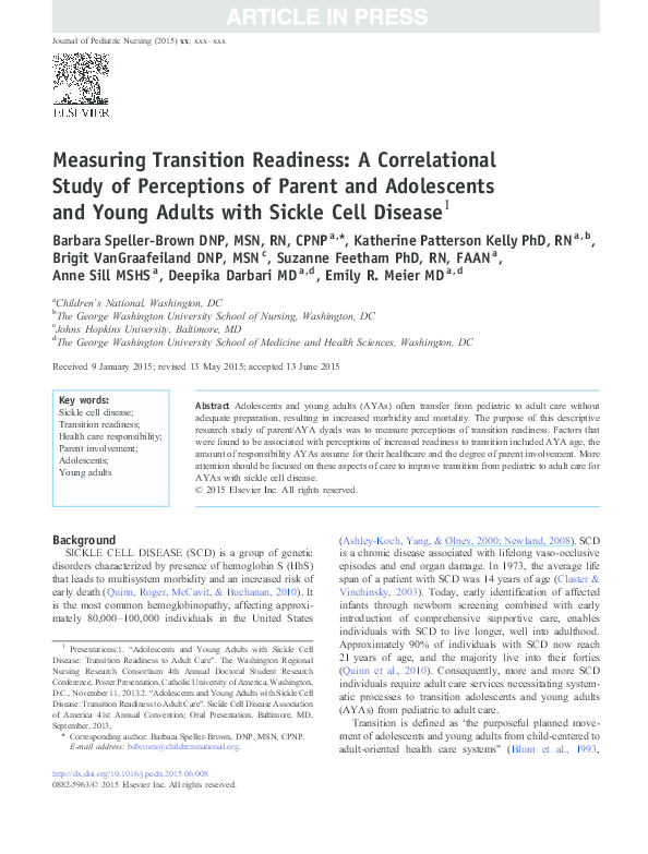 PDF) Measuring Transition Readiness: A Correlational Study