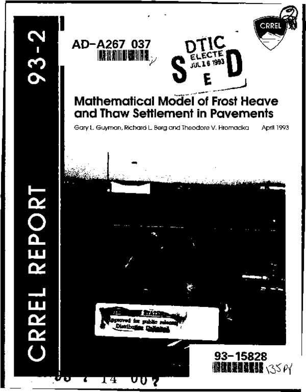 PDF) Mathematical model of frost heave and thaw settlement
