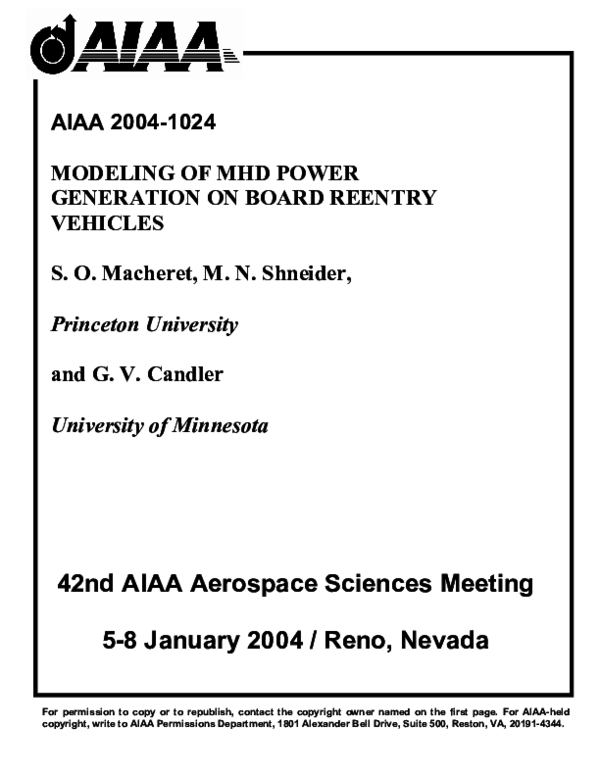 PDF) Modeling of MHD power generation on board reentry