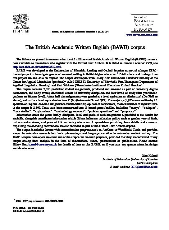 british academic writing english corpus