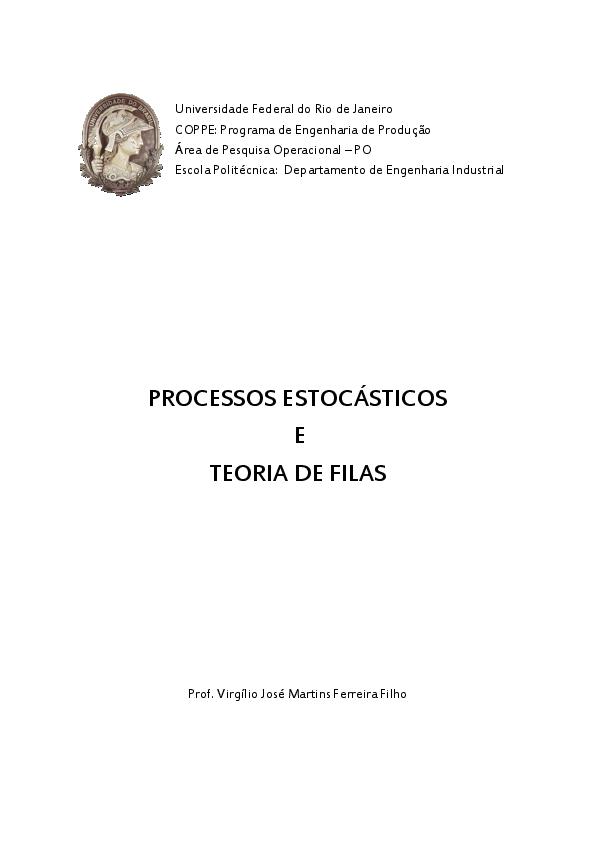 PROCESSOS ESTOCÁSTICOS E TEORIA DE FILAS  f94b9dabe3c8d