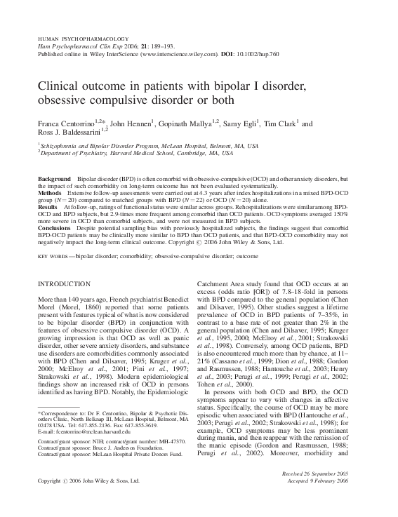 PDF) Clinical outcome in patients with bipolar I disorder