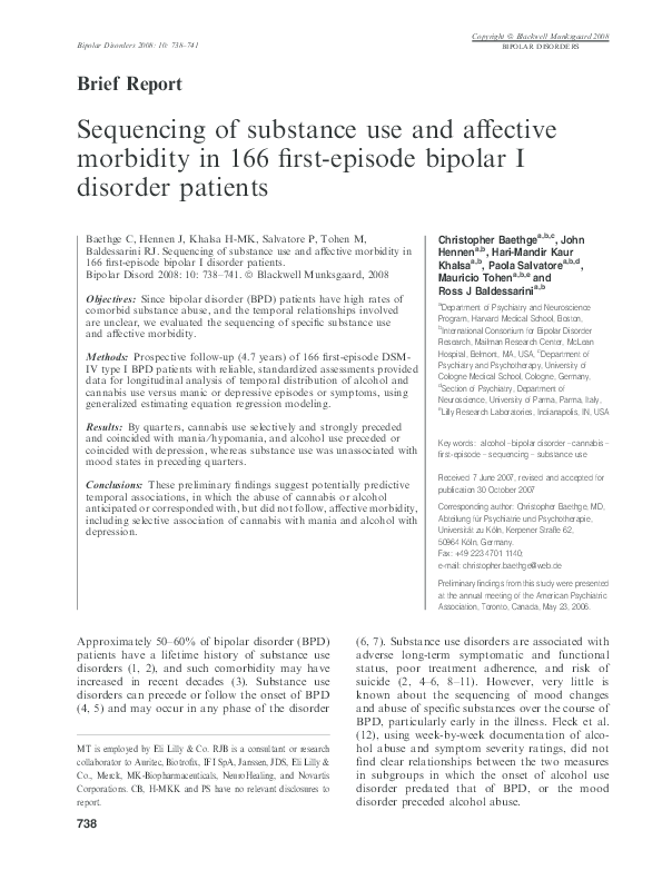 PDF) Sequencing of substance use and affective morbidity in