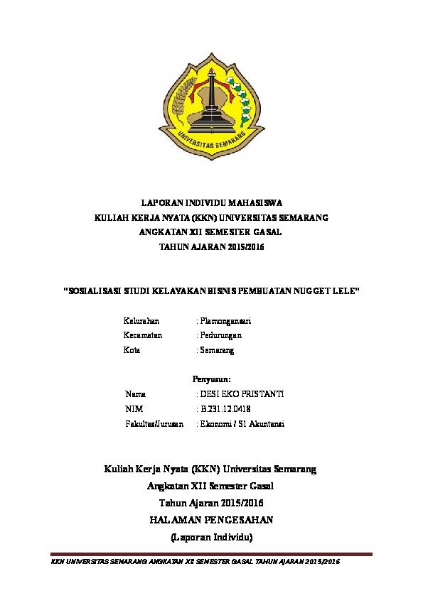 Contoh Laporan Kkn Individu Fakultas Ekonomi Kumpulan Contoh Laporan