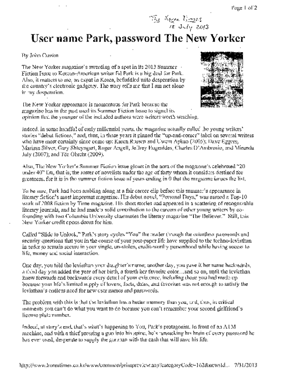 PDF) User Name Park, Password 'The New Yorker' | John Cussen