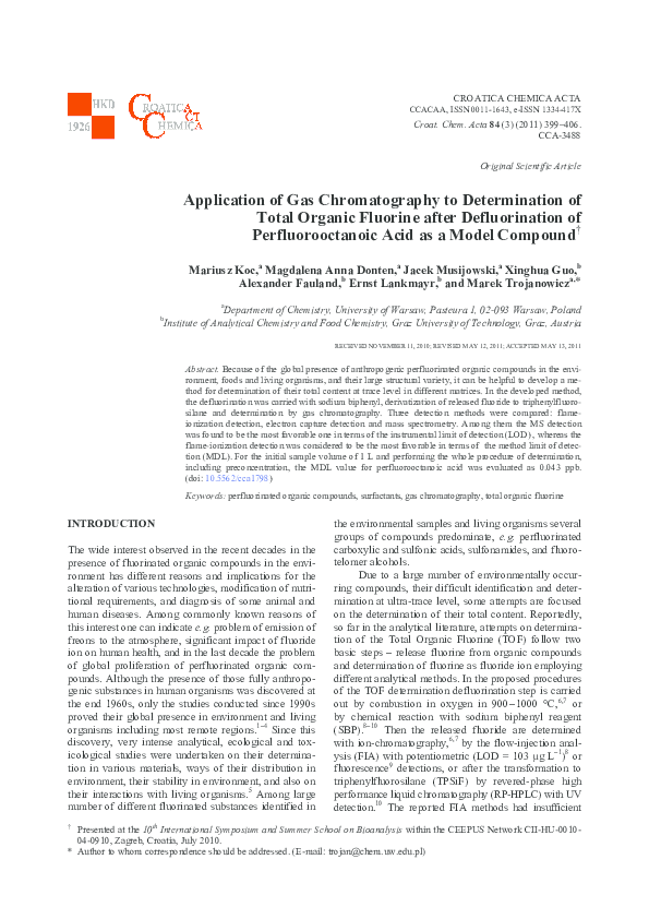 PDF) Application of Gas Chromatography to Determination of