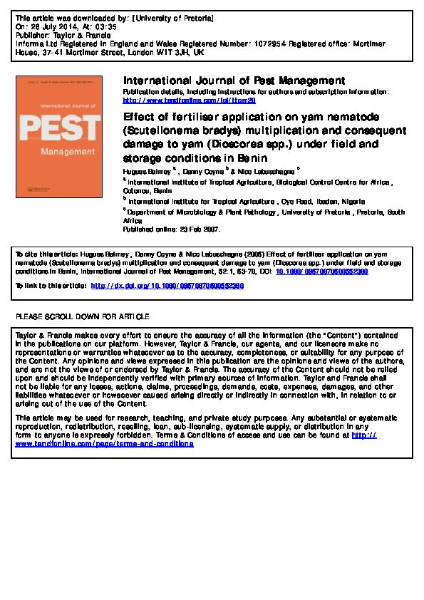 PDF) Effect of fertiliser application on yam nematode ( Scutellonema