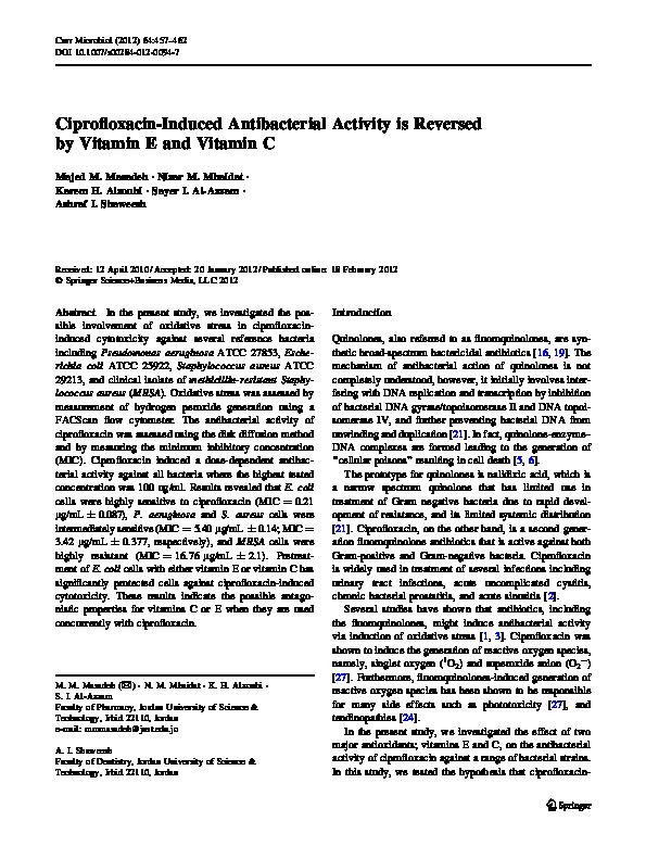 PDF) Ciprofloxacin-Induced Antibacterial Activity is