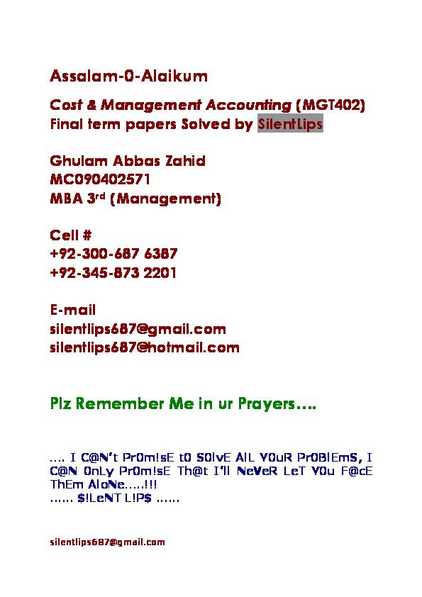 mgt402 final term paper