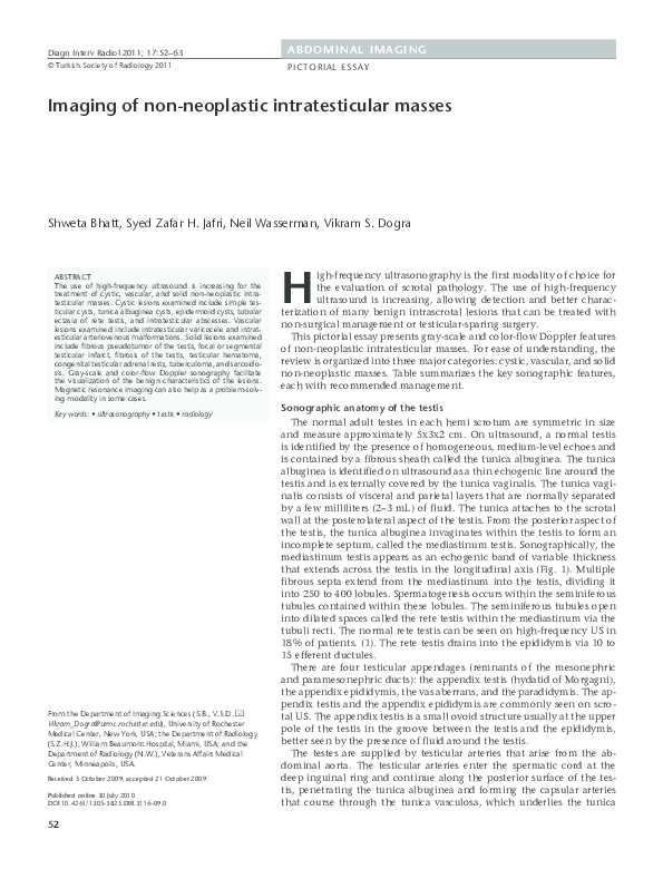 PDF) Non neoplastic intratesticular masses | Shweta Bhatt