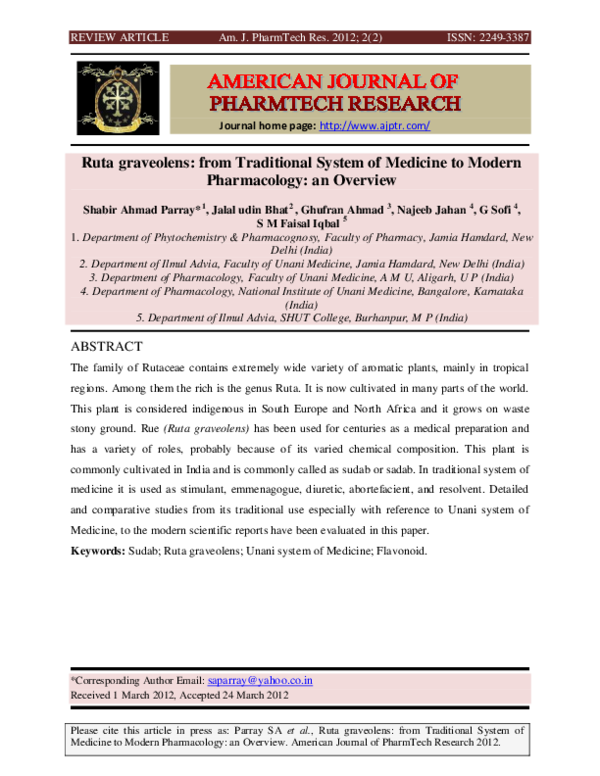 PDF) Ruta graveolens: from Traditional System of Medicine to Modern