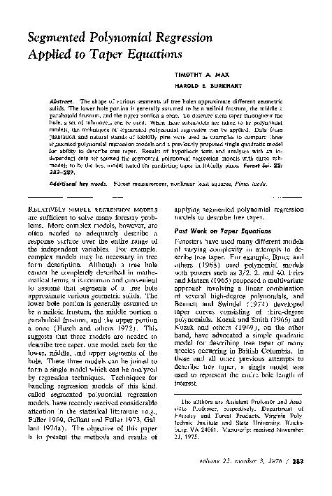 PDF) Segmented Polynomial Regression Applied to Taper