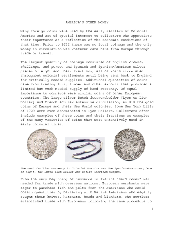 DOC) FOREIGN COINS USED IN COLONIAL AMERICA   Kenneth