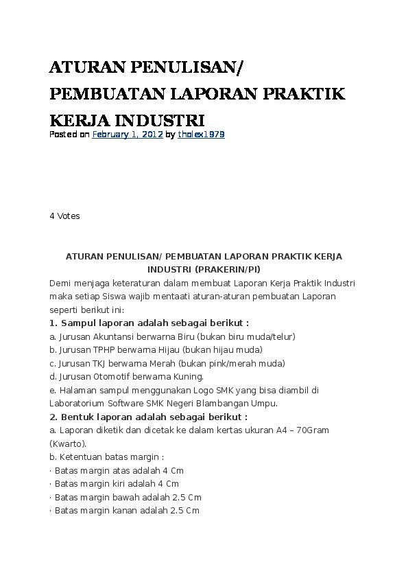 Doc Aturan Untuk Membuat Laporan Pkl Dan Contoh Laporan Pkl Andika Febriyanto Academia Edu