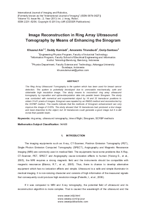 PDF) Image Reconstruction in Ring Array Ultrasound Tomography by