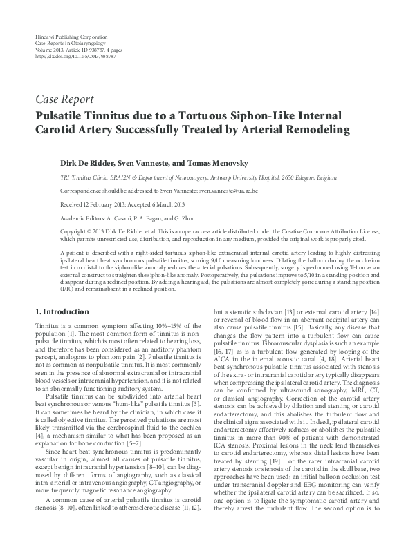 PDF) Pulsatile Tinnitus due to a Tortuous Siphon-Like