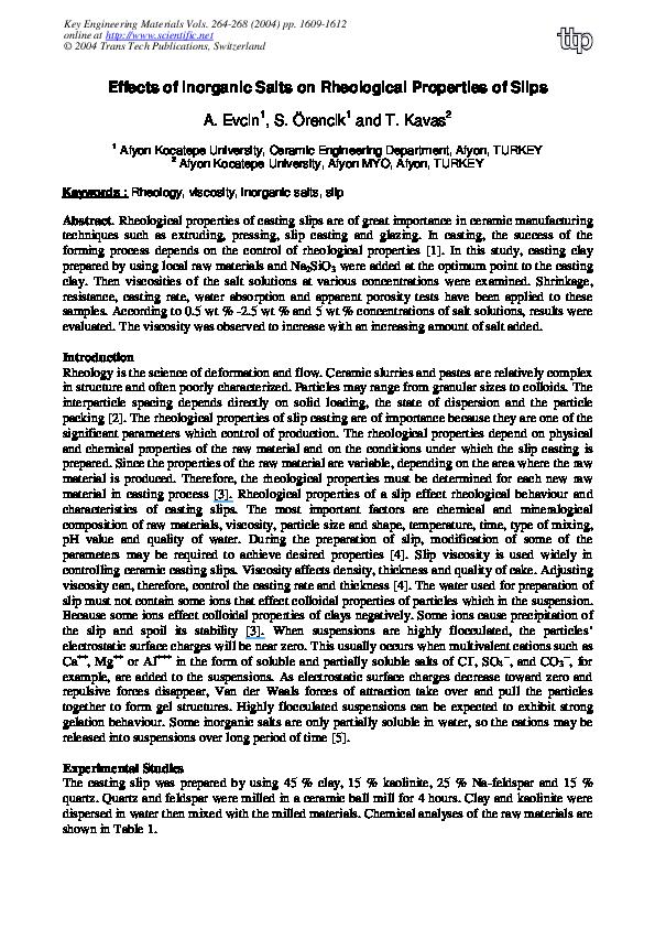 PDF) Effects of Inorganic Salts on Rheological Properties of