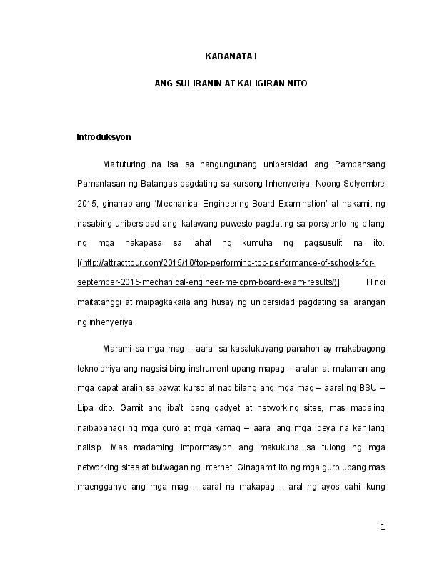 epekto ng modernong teknolohiya thesis