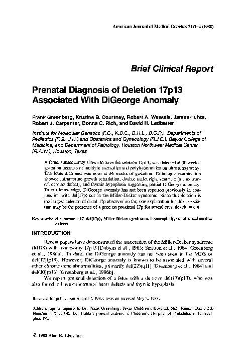 PDF) Prenatal diagnosis of deletion 17p13 associated with DiGeorge