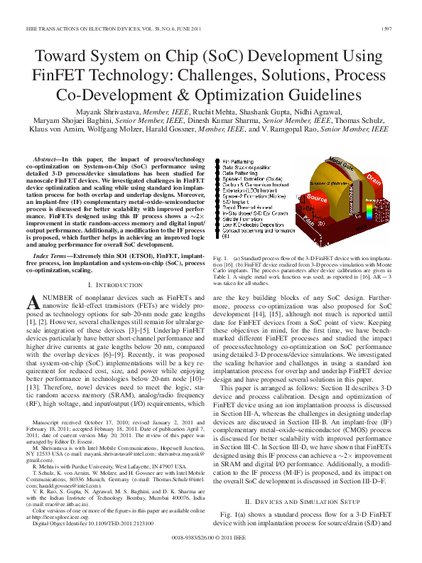 PDF) Toward System on Chip (SoC) Development Using FinFET Technology