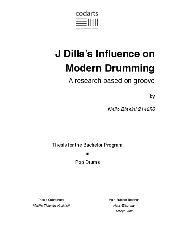 PDF) J Dilla's Influence on Modern Drumming | Nello Biasini