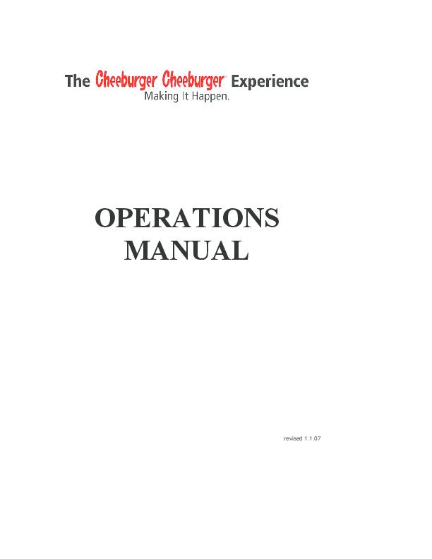 PDF) Cheeburger Operations Manual | Keith Sison - Academia edu