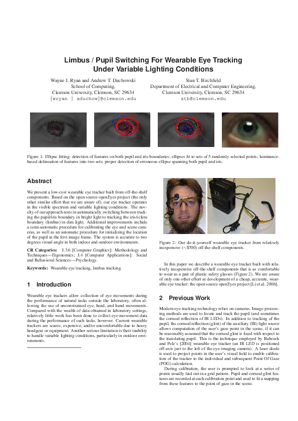 PDF) Limbus/pupil switching for wearable eye tracking under
