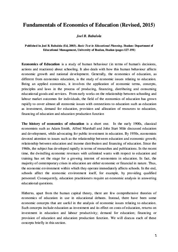 PDF) Fundamentals of Economics of Education Revised 2015 | Joel
