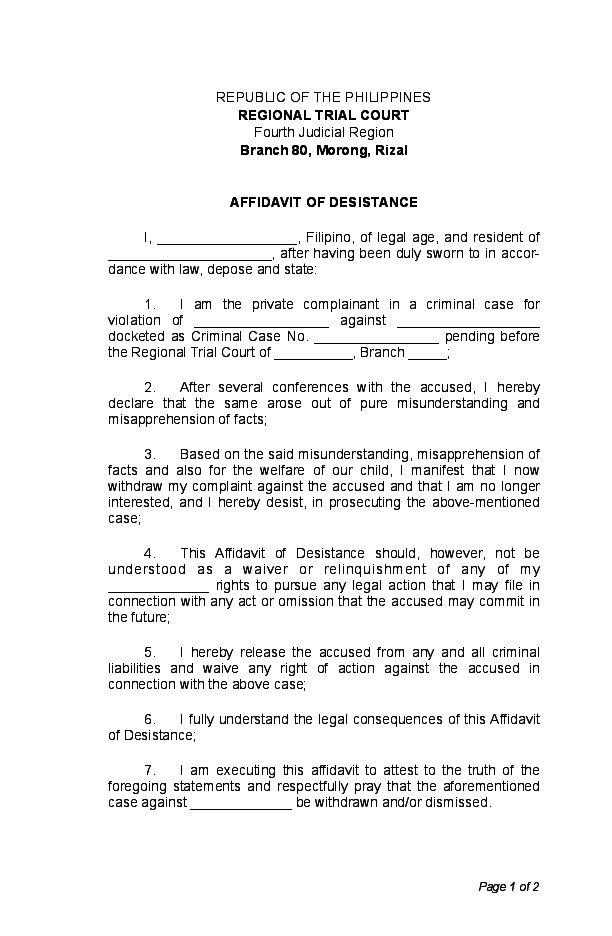 PDF) Affidavit of Desistance sample | Katrina Maniquis