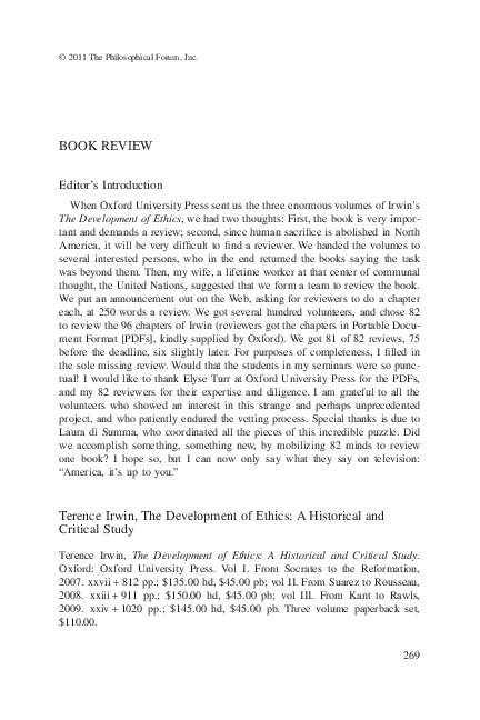 PDF) Review of Terence Irwin, 'Existentialism' in The