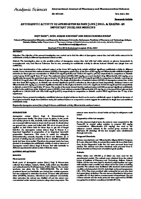 PDF) ANTIDIABETIC ACTIVITY OF APONOGETON NATANS (LINN ) ENGL