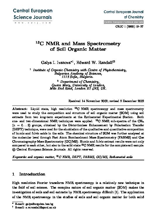 PDF) 13C NMR and mass spectrometry of soil organic matter