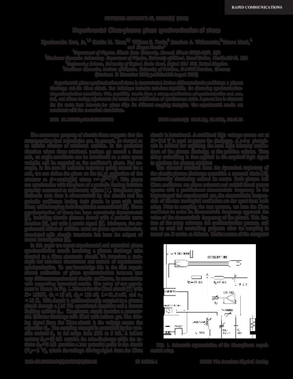 PDF) Experimental Chua-plasma phase synchronization of chaos   Marco