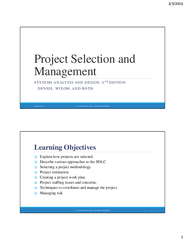 Pdf Project Selection And Management Systems Analysis And Design 6 Th Edition Eric Ng Academia Edu
