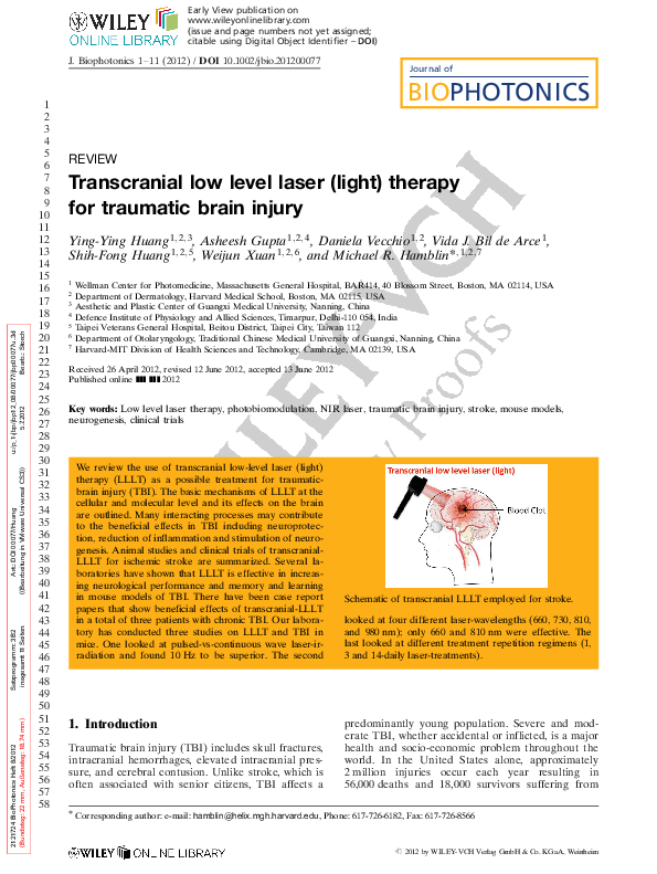 Pdf Transcranial Low Level Laser Light Therapy For Traumatic Brain Injury Mike Hamblin And Shih Fong Huang Academia Edu
