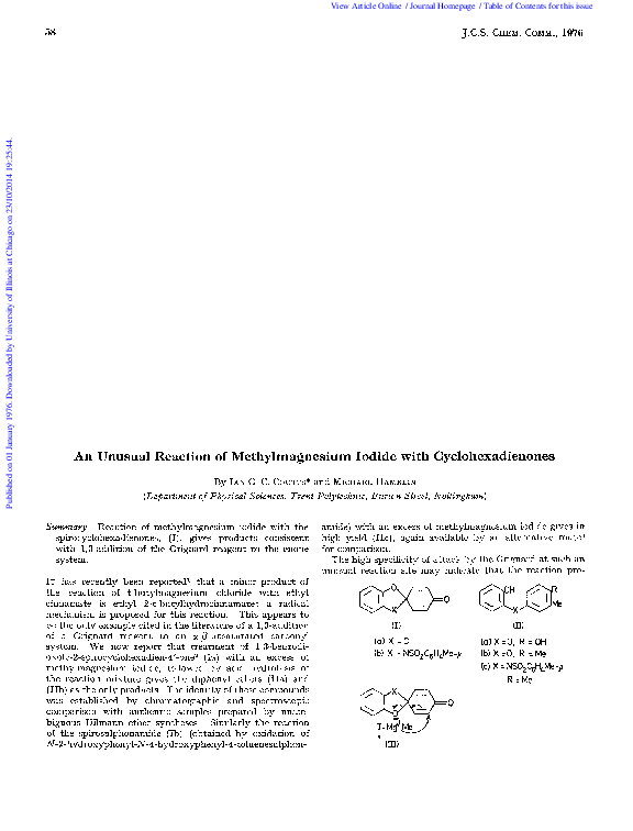 PDF) An unusual reaction of methylmagnesium iodide with