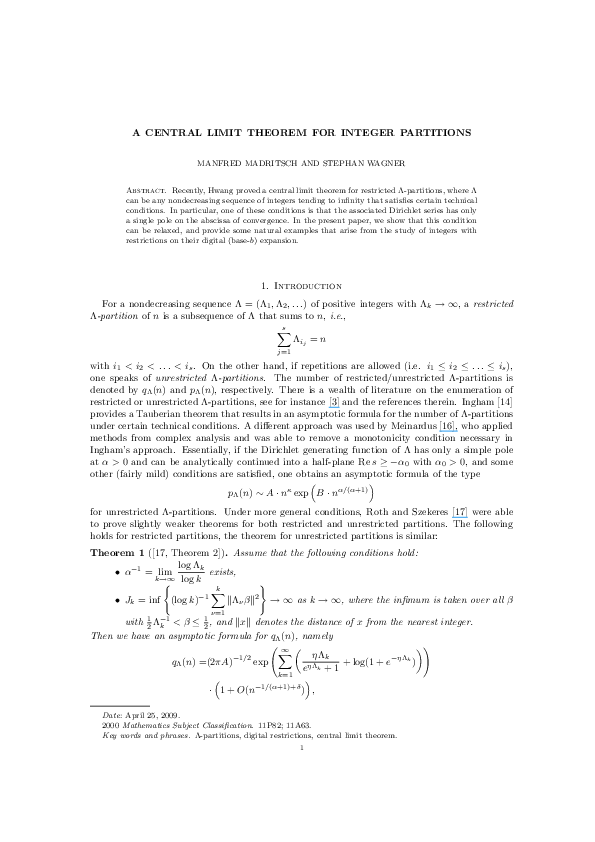 A central limit theorem for integer partitions