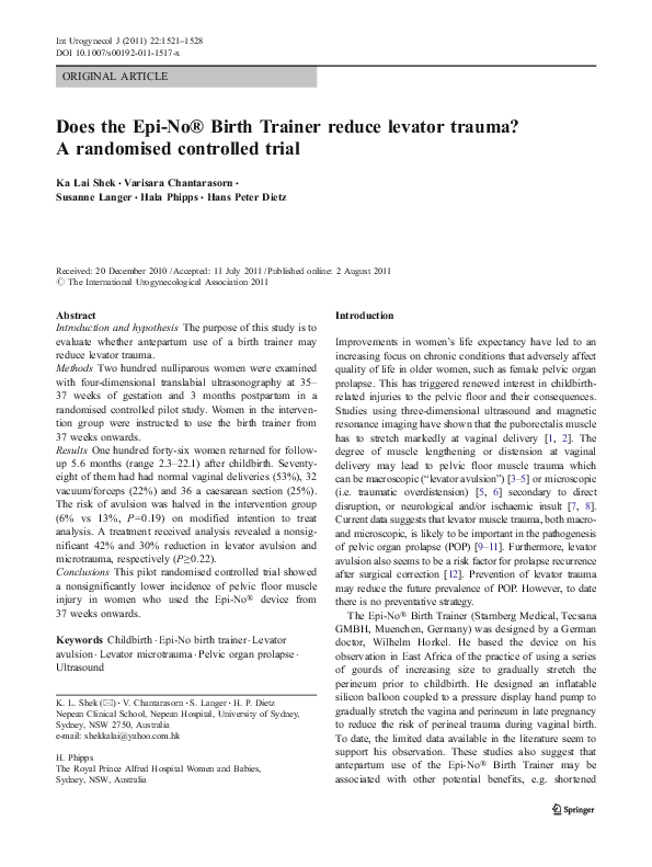 PDF) Does the Epi-No® Birth Trainer reduce levator trauma? A
