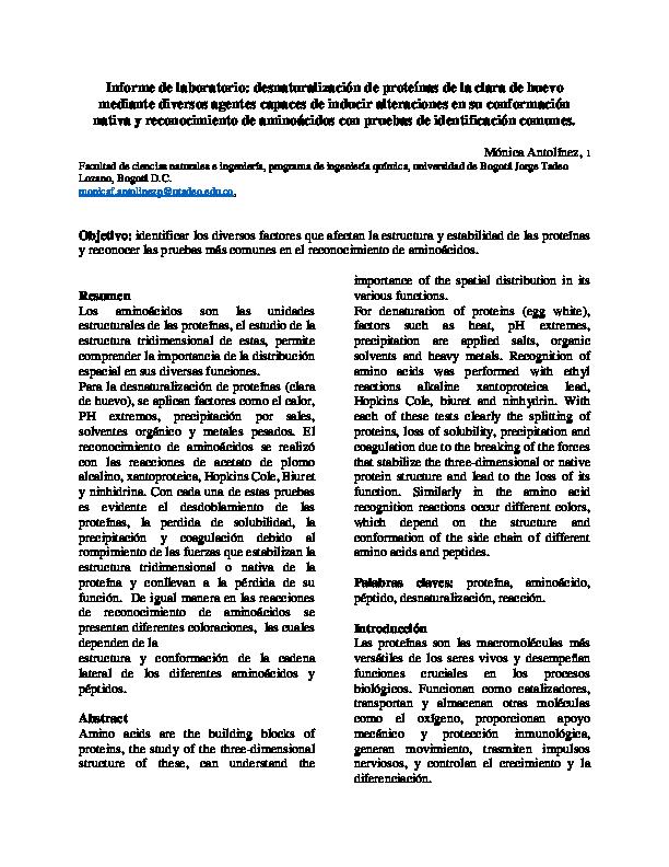 Pdf Informe De Laboratorio Desnaturalización De Proteínas