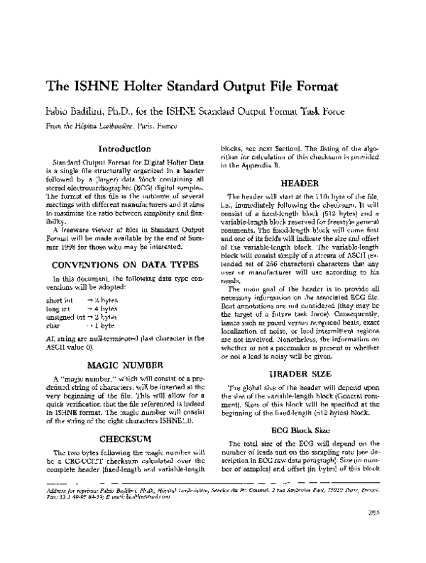 PDF) The ISHNE Holter Standard Output File Format | Fabio