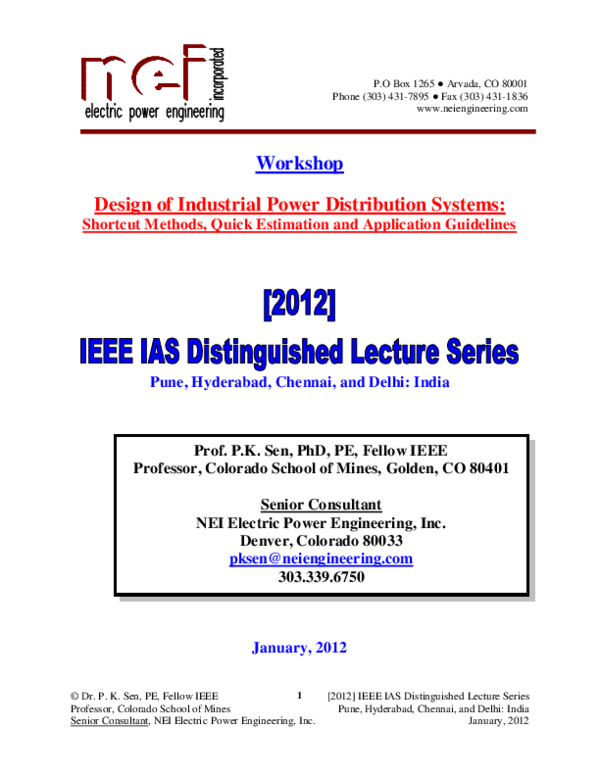 Pdf Workshop Design Of Industrial Power Distribution Systems Shortcut Methods Quick Estimation And Application Guidelines Roy Kamati Academia Edu
