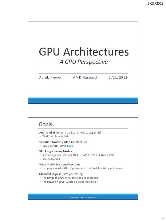 PDF) GPU Architectures A CPU Perspective Goals | Haitham