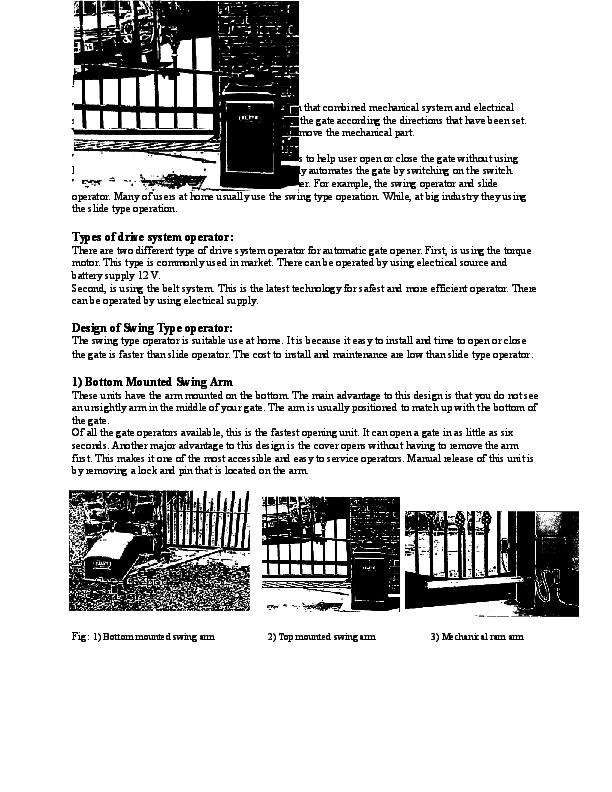 DOC) Literature review: Design of Swing Type operator | Hari