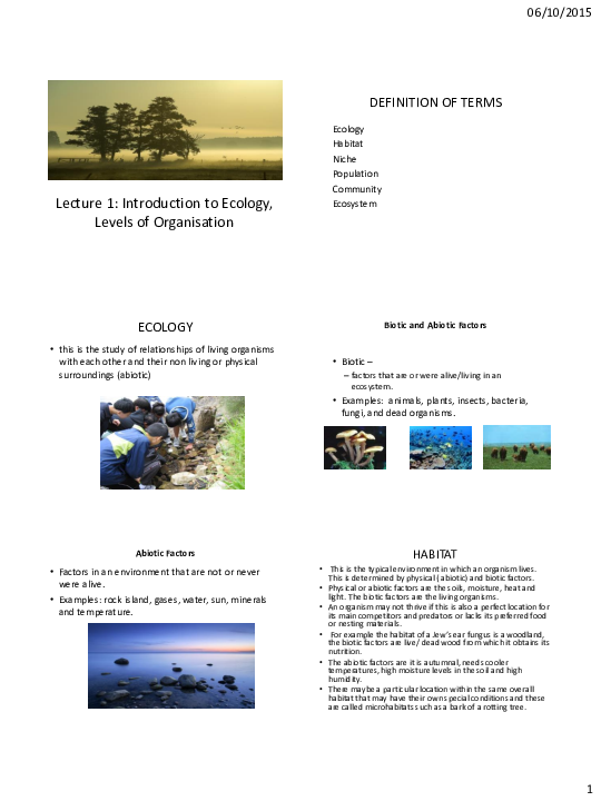 PDF) Lecture 1  Levels of Ecological Organisation | Don