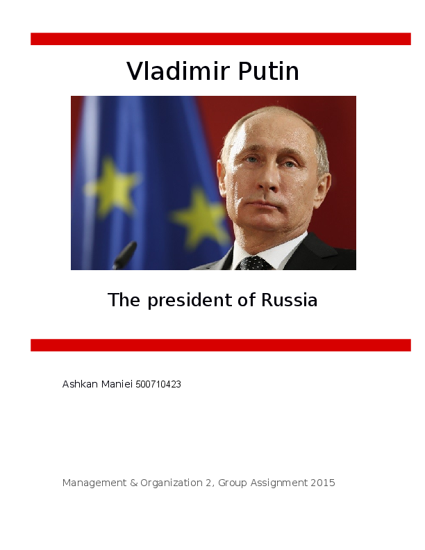 Doc Leadership Analysis Of Vladimir Putin Ashkan Maniei Academia Edu