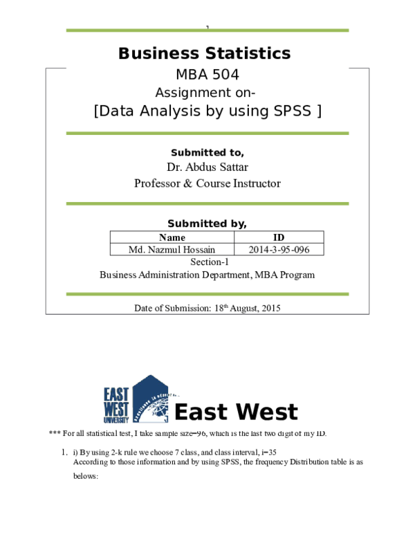 DOC) Business Statistics MBA 504 Assignment on- [Data